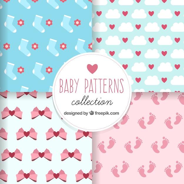 Patrones de bebé planos con diseños lindos | Descargar Vectores gratis