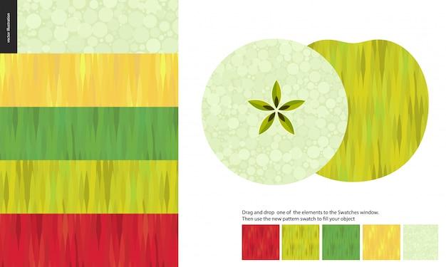 Patrones de comida, fruta, manzana Vector Premium