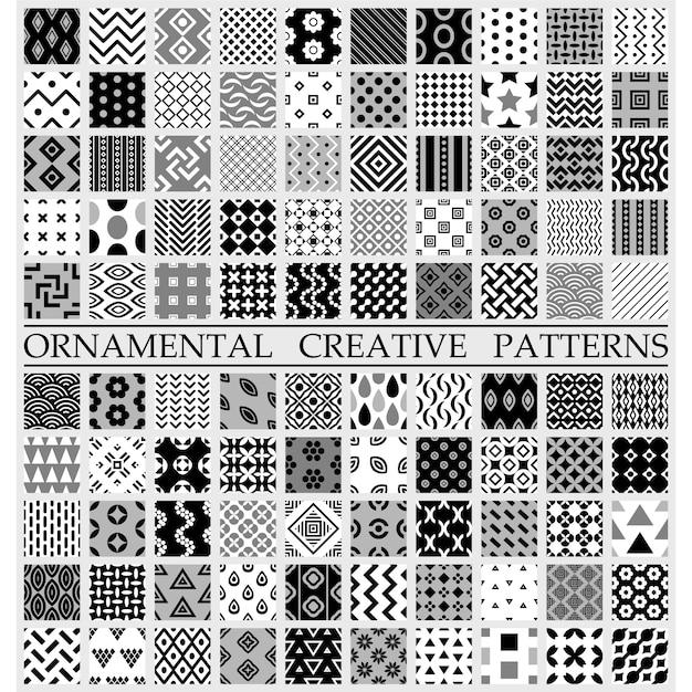 Patrones creativos blanco y negro vector gratuito