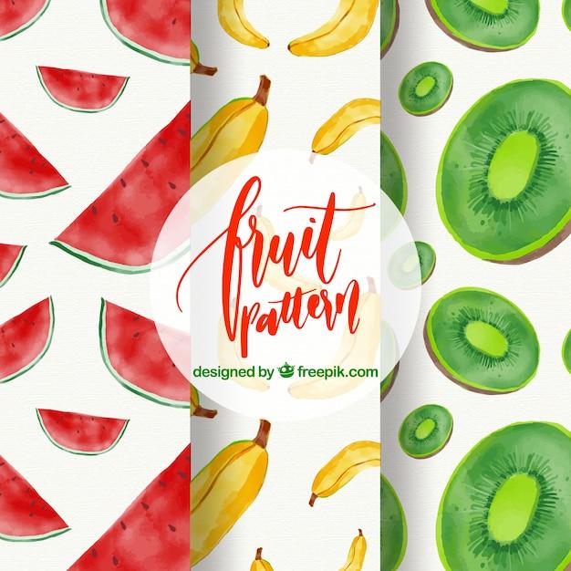 Patrones de frutas de acuarela  Vector Gratis