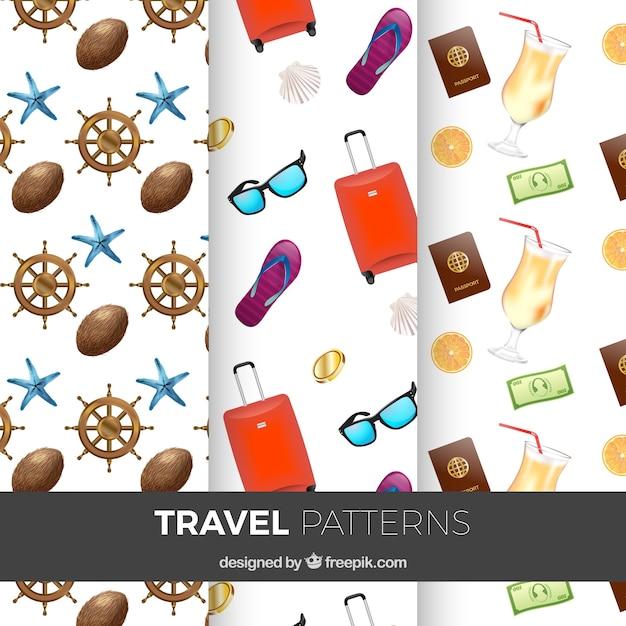 Patrones de viaje con maleta y otros elementos | Descargar Vectores ...