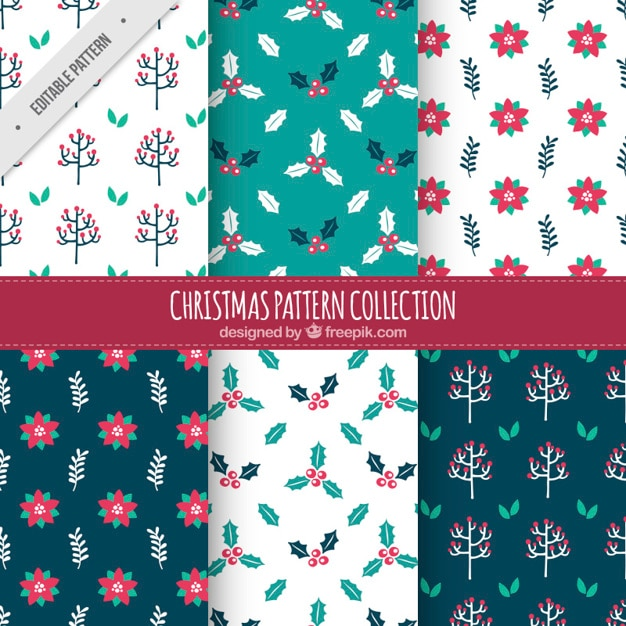 patrones decorativos de navidad con diferentes tipos de flores vector gratis