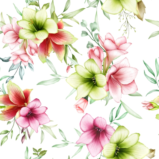 Patrones sin fisuras acuarela flores de amarilis Vector Premium
