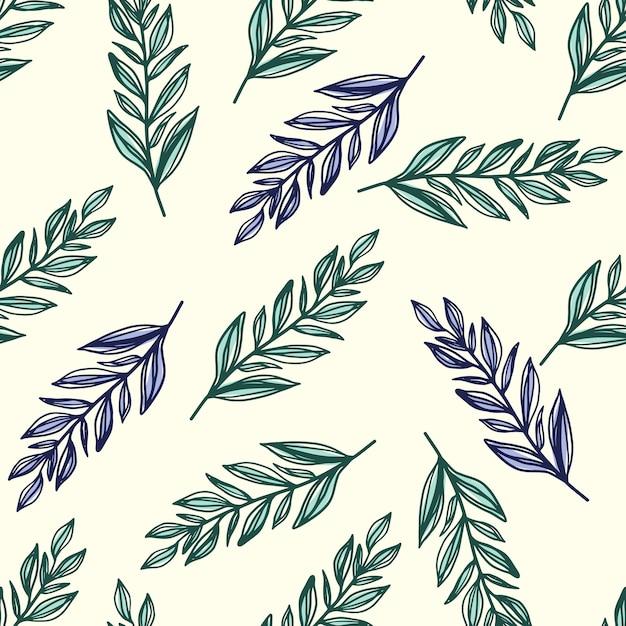 De patrones sin fisuras con adornos de follaje botánico. hojas de rama de contorno estilizado en colores verde y azul sobre fondo blanco. para papel tapiz, textil, envoltura, tela. ilustración. Vector Premium