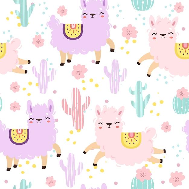 Patrones sin fisuras con alpacas en colores pastel. lindas llamas vector gratuito