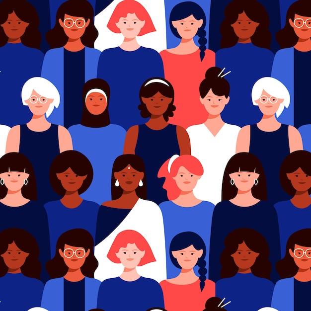 Patrones sin fisuras de caras de mujeres vector gratuito