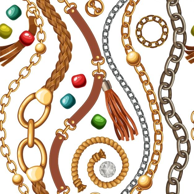 Patrones sin fisuras con cinturones, cadenas, flecos. Vector Premium