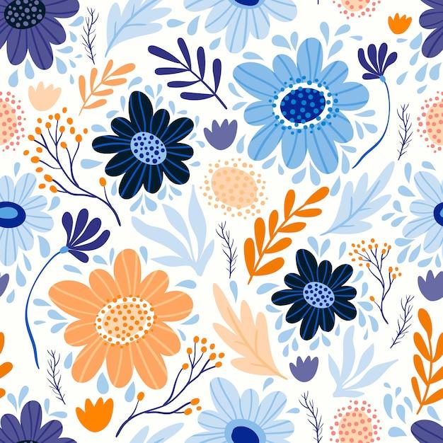 Patrones sin fisuras con diferentes flores y plantas Vector Premium