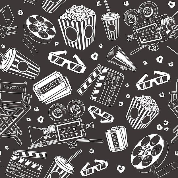 Patrones sin fisuras con elementos de cine vector gratuito