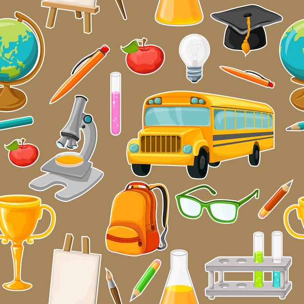 Patrones sin fisuras de la escuela con elementos de útiles escolares aislados Vector Premium