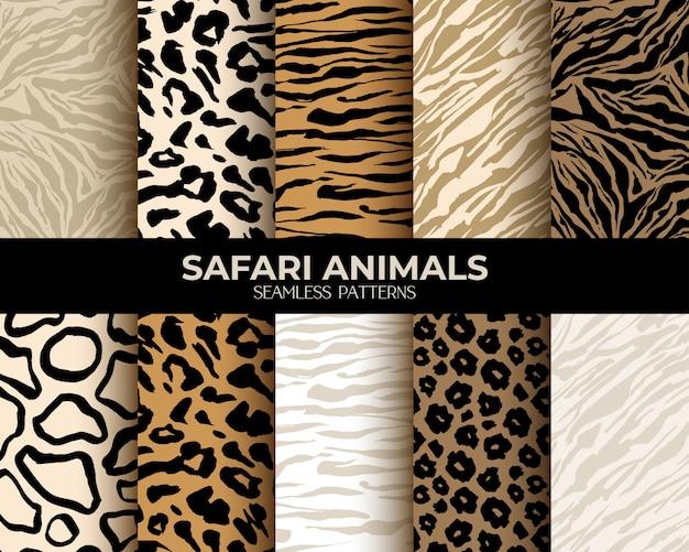 Patrones sin fisuras con estampado de pieles de animales vector gratuito