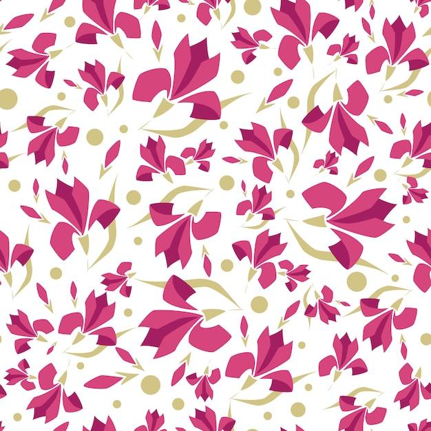 Patrones sin fisuras con flores estilizadas, flor de magnolia Vector Premium