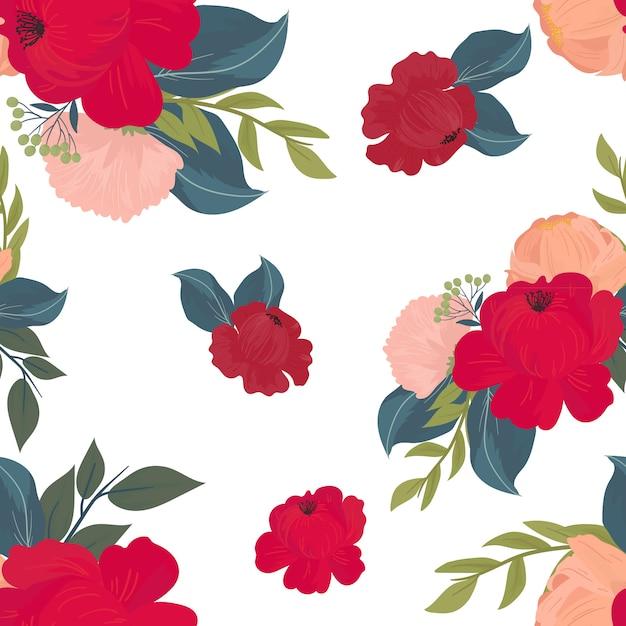 Patrones sin fisuras con flores, ramas, hojas Vector Premium