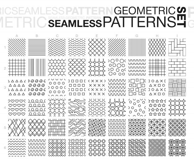 Patrones sin fisuras geométricos en blanco y negro. conjunto de texturas de mosaico monocromo de línea delgada. ilustración. Vector Premium