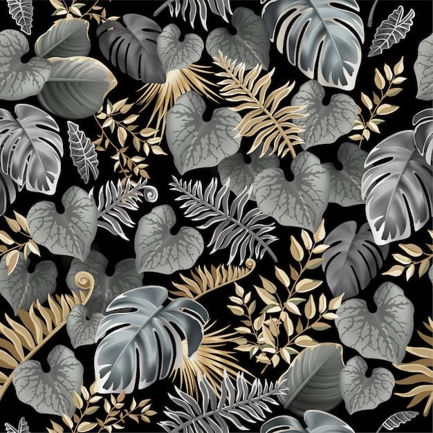 Patrones sin fisuras con hojas tropicales oscuras. vector gratuito