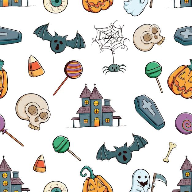 Patrones sin fisuras de los iconos de halloween o elementos con ...