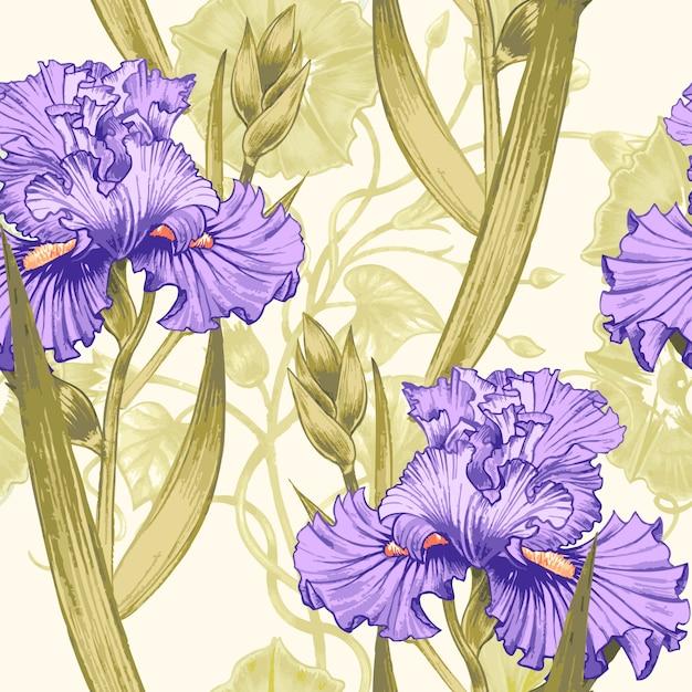 Patrones sin fisuras con iris de flores. Vector Premium
