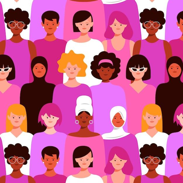 Patrones sin fisuras con mujeres en multitud vector gratuito