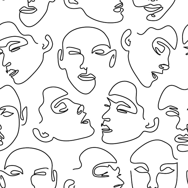 Patrones sin fisuras con retratos femeninos. un dibujo lineal. Vector Premium