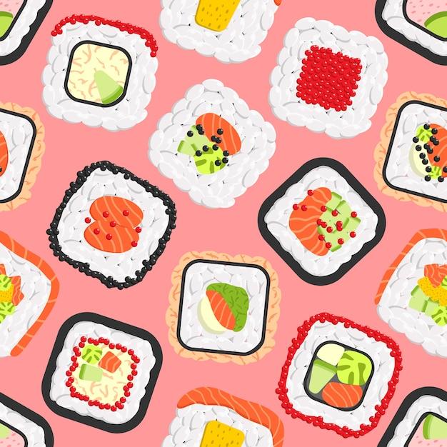 Patrones sin fisuras de rollos de sushi color lindo Vector Premium