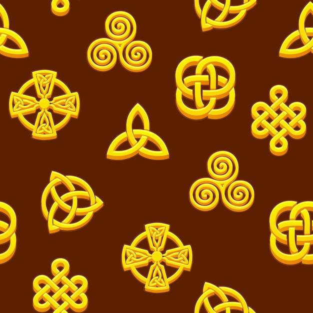 Patrones sin fisuras símbolos celtas. iconos celtas dorados Vector Premium
