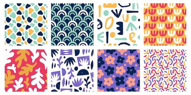 Patrones de formas de color abstracto sin fisuras vector gratuito