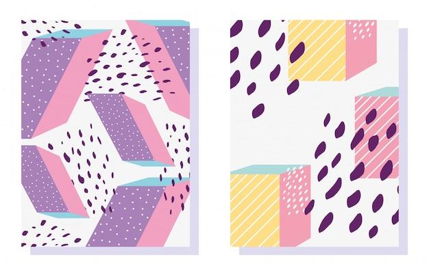 Patrones de formas geométricas de memphis en la moda de moda 80-90 Vector Premium