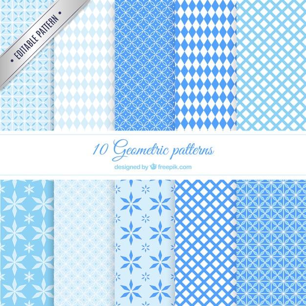 Patrones geométricos azules vector gratuito