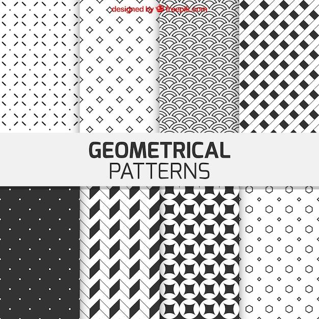 Patrones geométricos en color blanco y negro | Descargar Vectores gratis