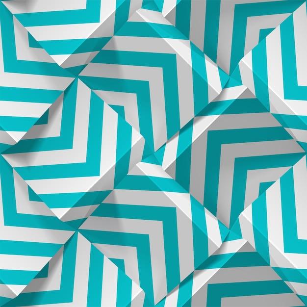 Patrones geométricos sin fisuras. cubos realistas de papel blanco con tiras. plantilla para fondos de pantalla, textil, tela, papel de regalo, fondos. textura abstracta con efecto de extrusión de volumen. Vector Premium