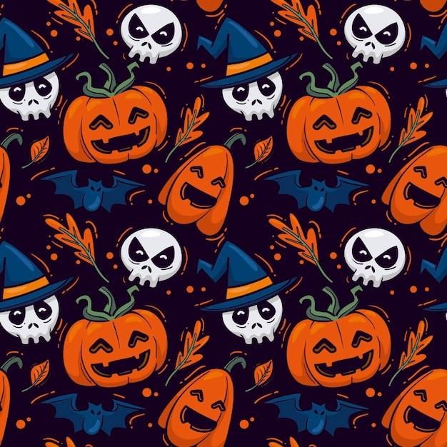 Patrones de halloween dibujados a mano vector gratuito
