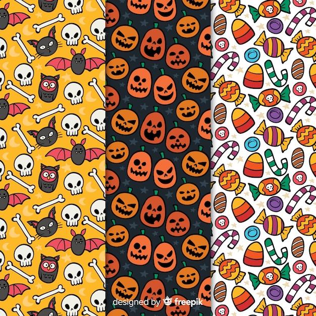Patrones de halloween con dibujos vector gratuito