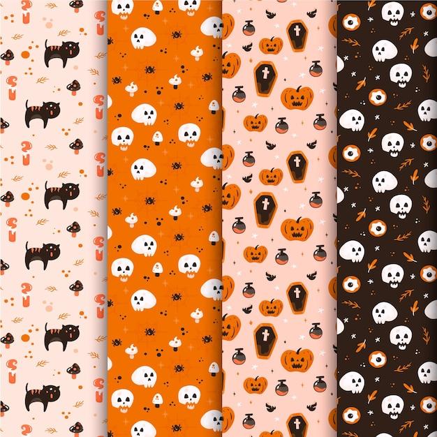 Patrones de halloween en diseño plano vector gratuito