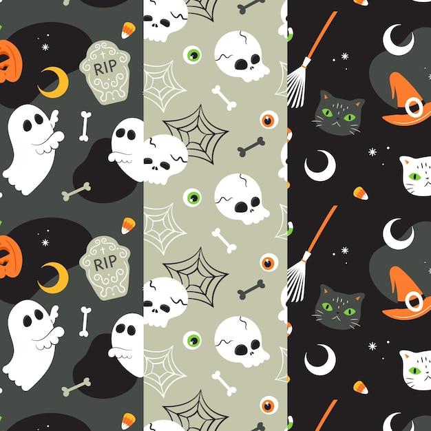 Patrones de halloween en diseño plano Vector Premium