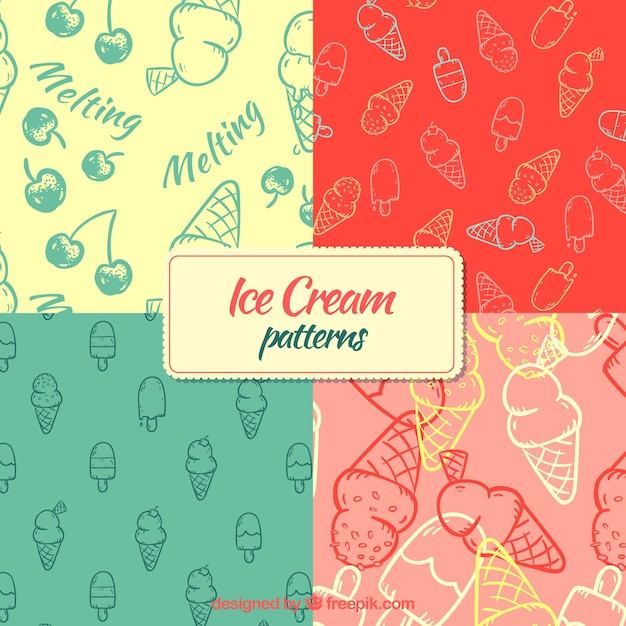 Patrones de helados dibujados a mano vector gratuito