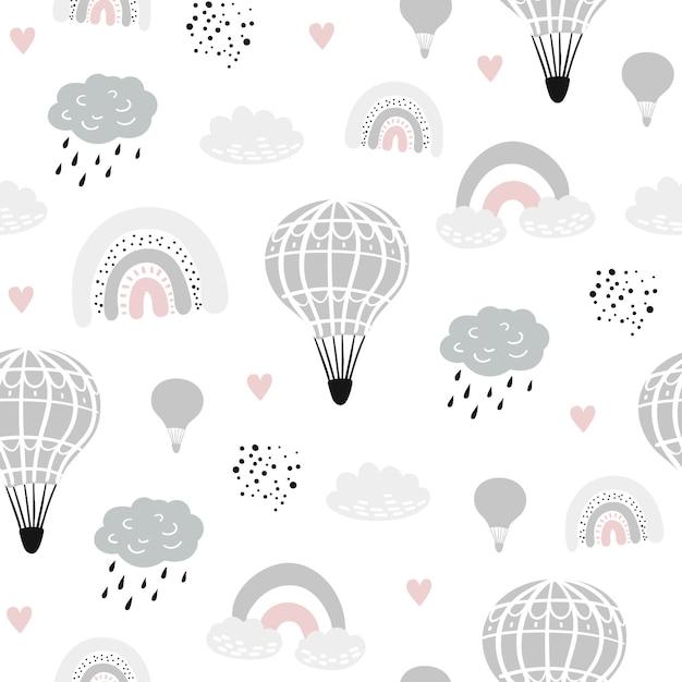 Patrones infantiles sin fisuras con globos dibujados a mano Vector Premium