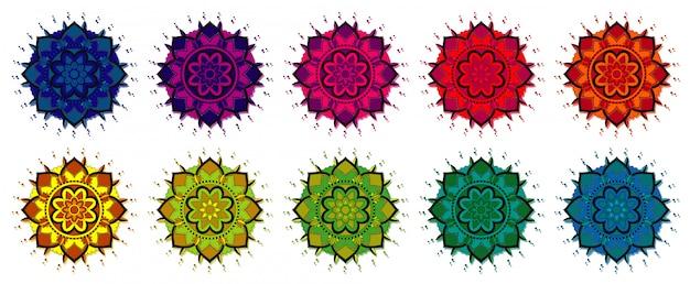 Patrones de mandala en diferentes colores. vector gratuito
