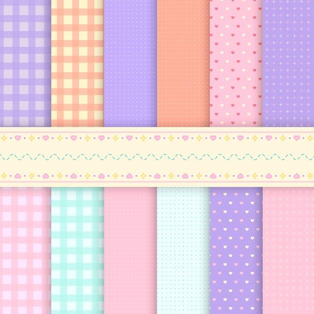 Patrones mixtos de vectores de fondo pastel vector gratuito