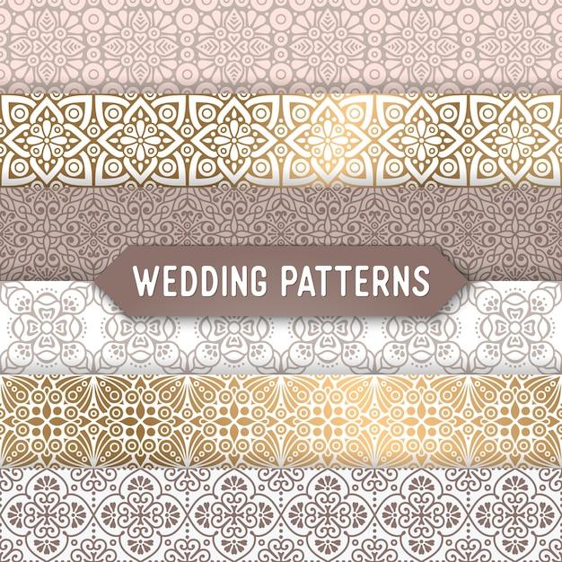 Patrones ornamentales de boda vector gratuito