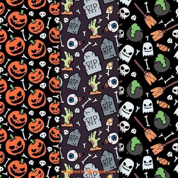 Patrones temáticos de halloween con muchos detalles vector gratuito