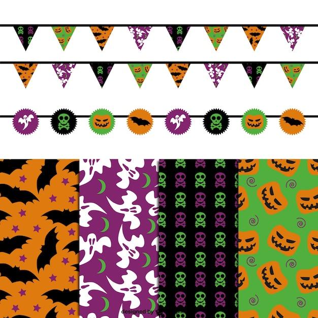 Patrones y adornos de halloween descargar vectores gratis - Adornos para halloween ...