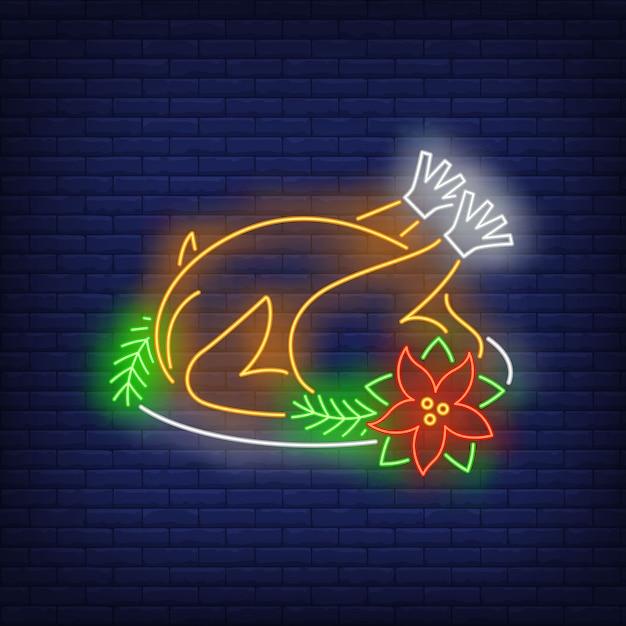 Pavo de navidad en estilo neón vector gratuito