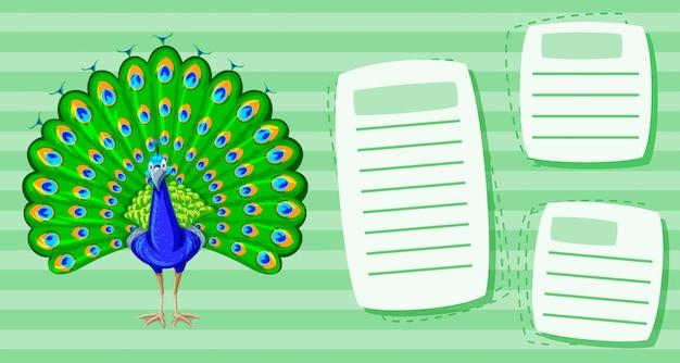 Un pavo real en plantilla de nota vector gratuito
