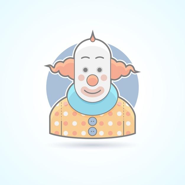 Payaso de circo, bromista, icono de gracioso. ilustración de avatar y persona. estilo esbozado de color. Vector Premium