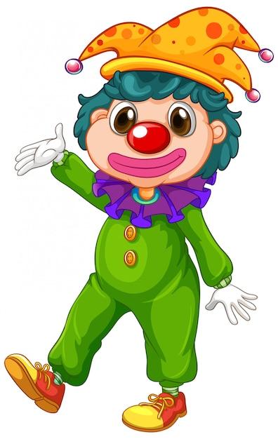 Payaso feliz en traje verde y sombrero gracioso vector gratuito