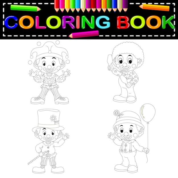 Payaso para colorear libro   Descargar Vectores Premium