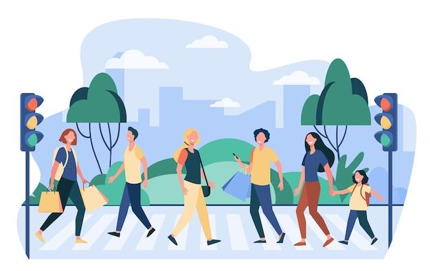 Peatones cruzando la calle. personas que cruzan la carretera en el semáforo. ilustración de vector de paso de peatones, seguridad vial, ciudadanos vector gratuito