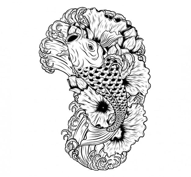 Peces carpa con loto vector tatuaje a mano dibujo Vector Premium