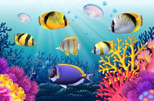 Peces nadando bajo el mar vector gratuito