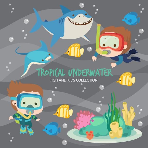 Peces submarinos tropicales y niños Vector Premium